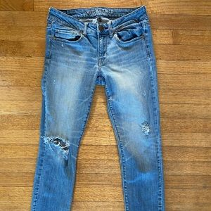 American Eagle Skinny Stressed Ripped Jeans